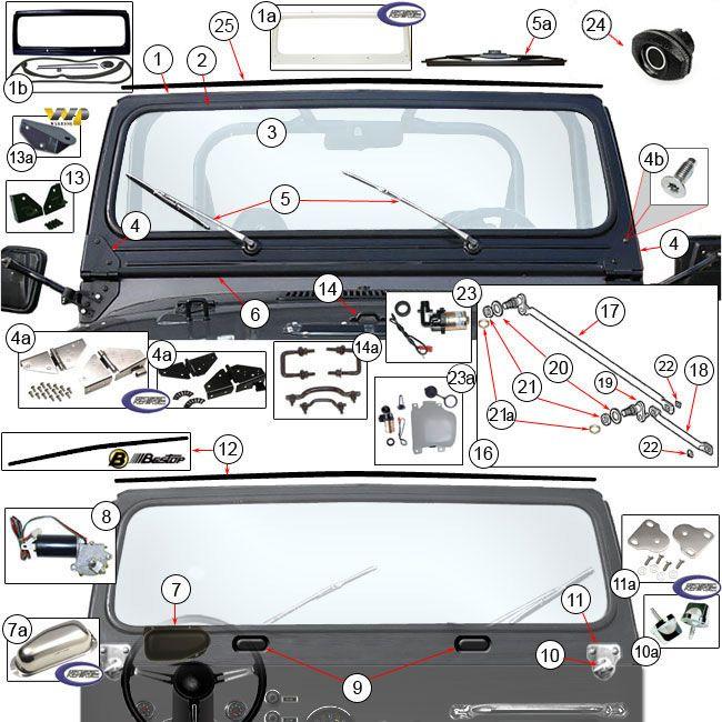 Jeep Windshield Parts & Components for Jeep CJ5, CJ7, CJ8 Scrambler at Morris 4x4 Center