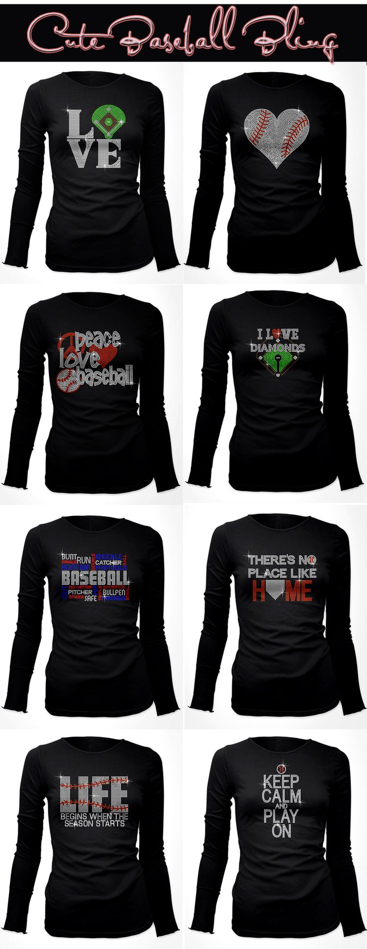 Really Cute Rhinestone Baseball Shirts which can be customized. For the girls in my life who love baseball.