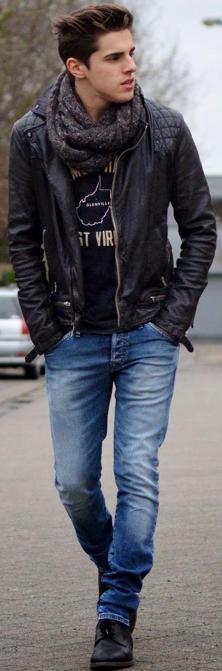 Shop this look on Lookastic: https://lookastic.com/men/looks/biker-jacket-long-sleeve-t-shirt-skinny-jeans/15371?utm_content=buffer46d73&utm_medium=social&utm_source=pinterest.com&utm_campaign=buffer   — Charcoal Scarf  — Black Quilted Leather Biker Jacket  — Black Print Long Sleeve T-Shirt  — Blue Skinny Jeans  — Black Leather Derby Shoes