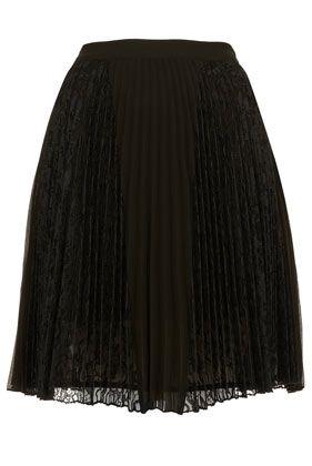 Black Lace Pleated Skirt