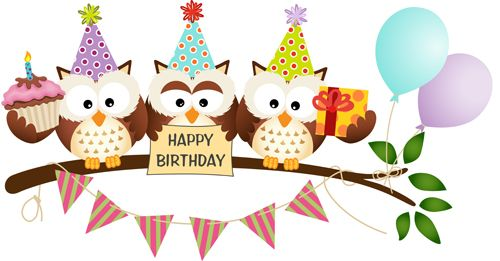 Cute owl with birthday cards vector material
