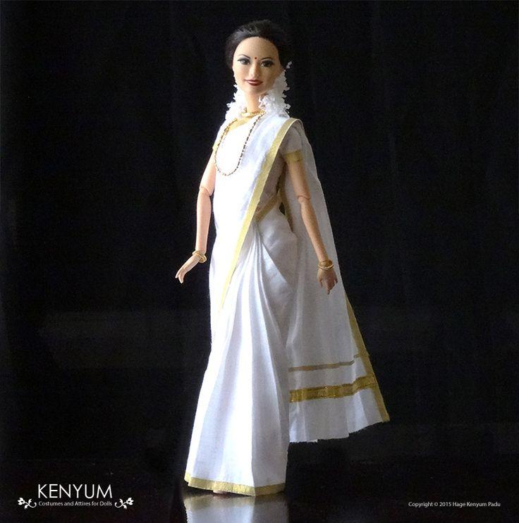 Barbie in Kasavu saree from Kerala