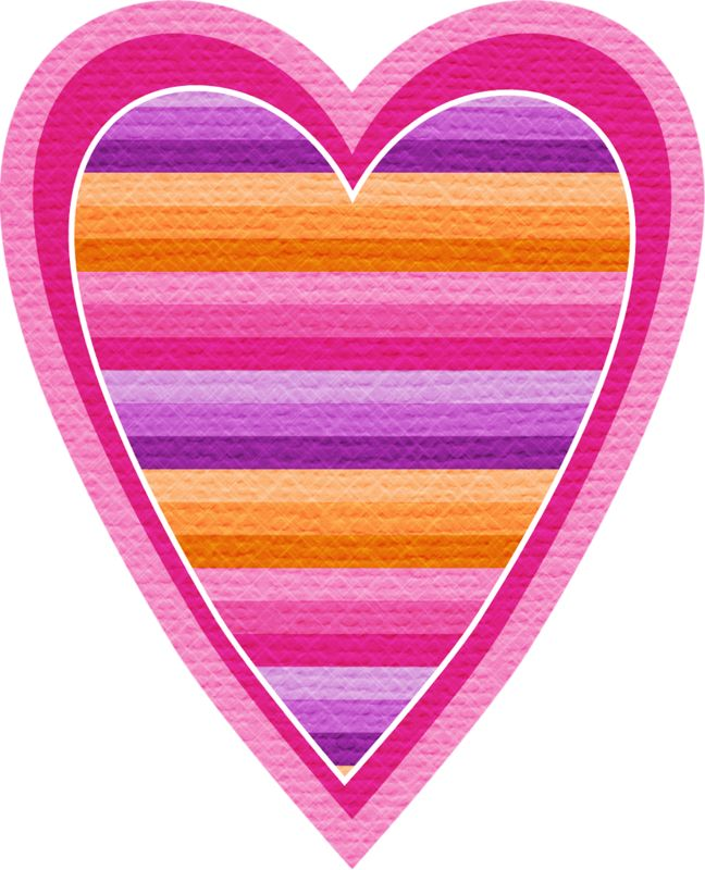 Striped pink, orange, purple ~  heart