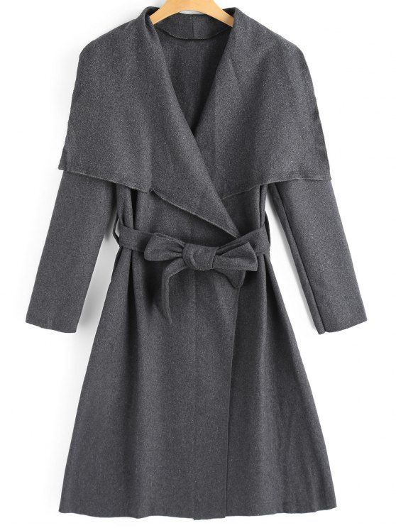 Belted Skirted Wool Blend Coat - DEEP GRAY S