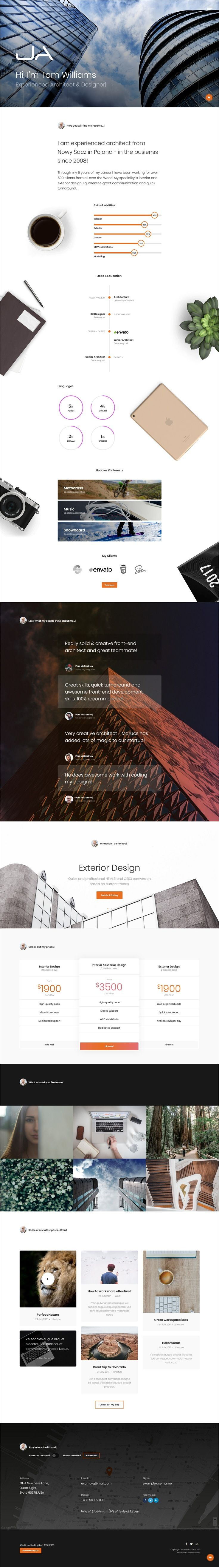 Ja is clean and modern design #bootstrap template for #architect #engineers #resume #CV and portfolio showcase website with 40+ creative homepage layouts download now..