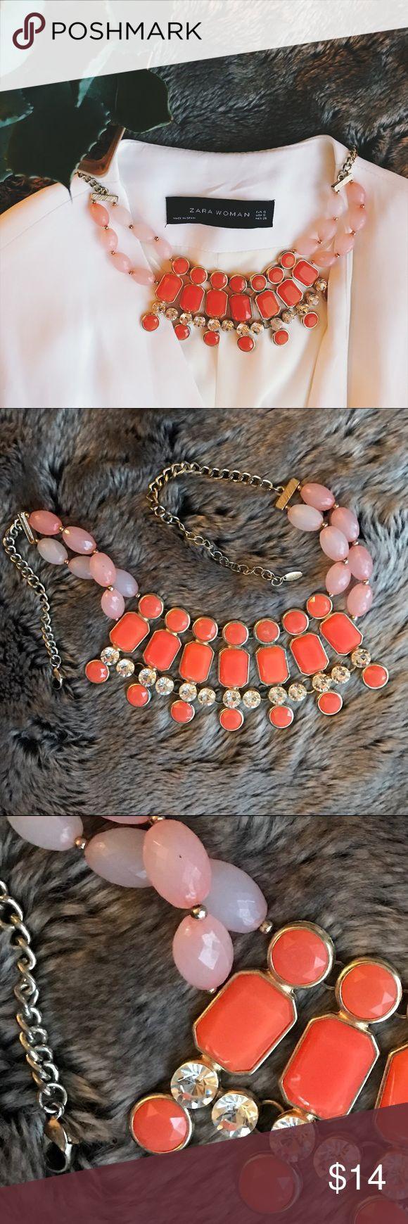 🆕 Coral statement necklace Gorgeous coral beaded statement necklace with giant clear stone accents. Purchased it at a boutique but can't remember the brand, unfortunately. Still a darling piece to pair with an LBD or wear to work! Jewelry Necklaces