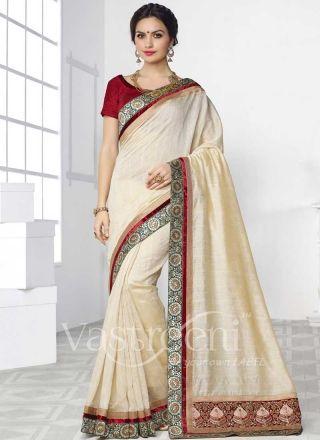 Beige Embroidery work Swarn Silk Designer Sarees  http://www.angelnx.com/Sarees/Designer-Sarees