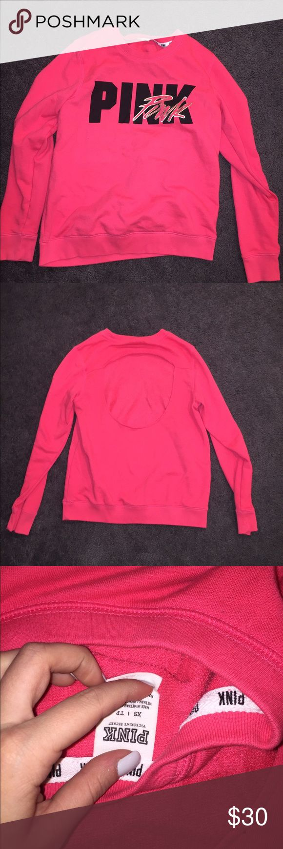 VS PINK HOODIE pink pull over with black writing and cut out back PINK Victoria's Secret Tops Sweatshirts & Hoodies