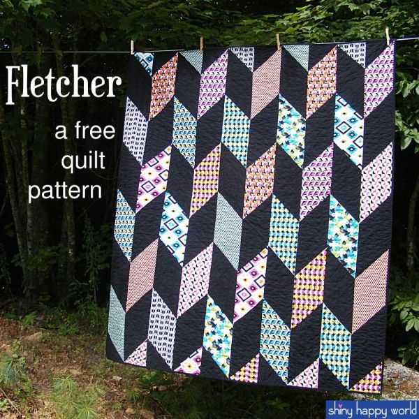 """Fletcher - a Free Chevron Quilt Pattern - Shiny Happy World (warning: """"free"""" IF you subscribe to her mailing list *grrrrrr*)"""