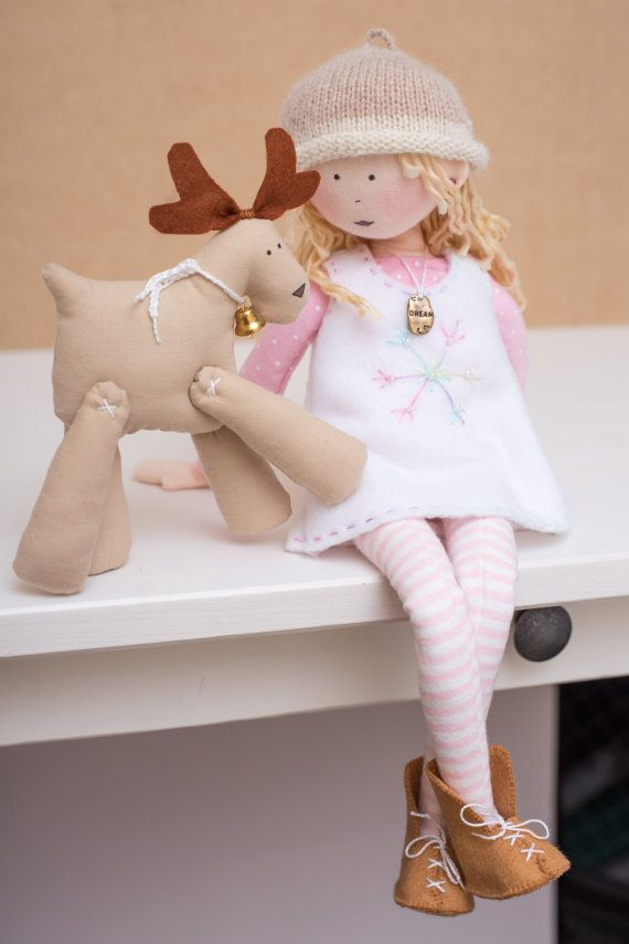 "So cute—13"" tall Lina Rag Doll with Reindeer"
