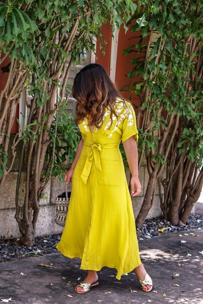 فستان أصفر مطرز Embroidered Dress Dresses Dress Break