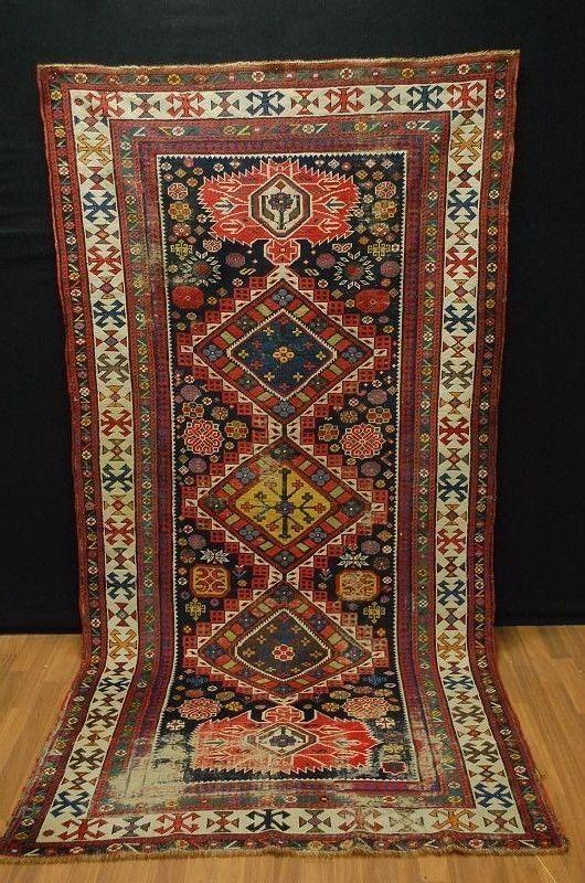 Ancien Kasak kauksien tapis d Orient ca:263x130cm rug tappeto tapis   eBay