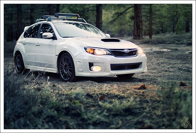 Subaru Impreza WRX STi lurking in the woods.