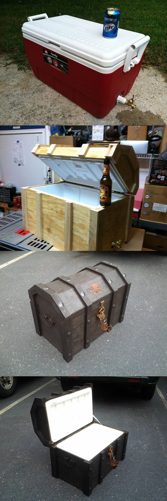 DIY Pirate Chest Cooler. This would be fun!  File under: Things I'll probably never do, but think are cool. ;)