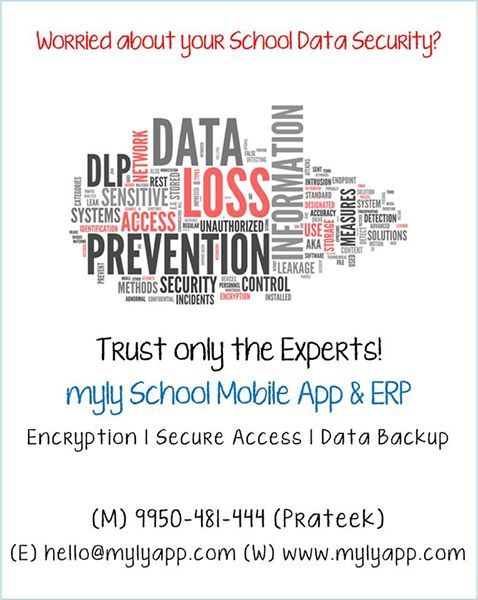 Worried about your School Data Security?  Trust only the Experts!  myly School Mobile App & ERP  Encryption | Secure Access | Data Backup  Know more at https://www.mylyapp.com/