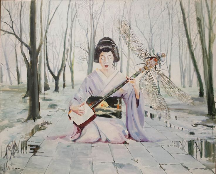 "original painting ""Shamisen"", 160x130cm, oil on canvas"