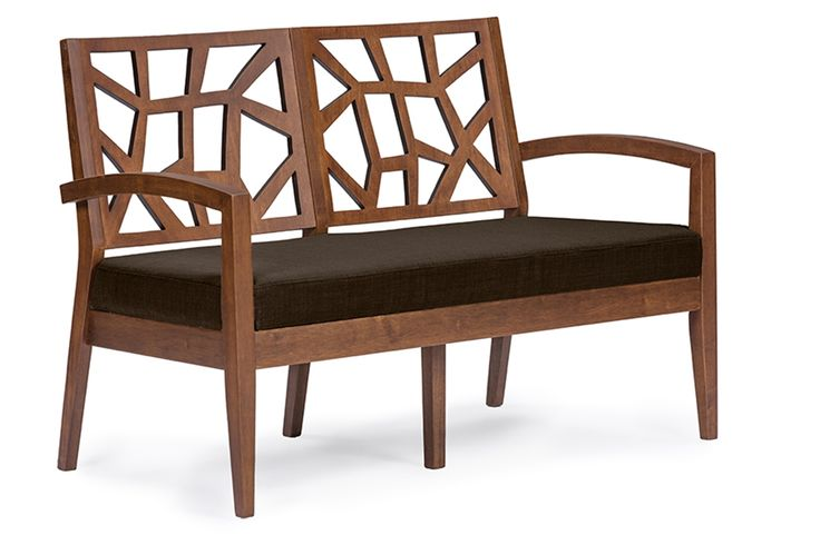 Baxton Studio Jennifer Brown Wood and Dark Brown Fabric Modern Loveseat | Affordable Modern Furniture in Chicago.
