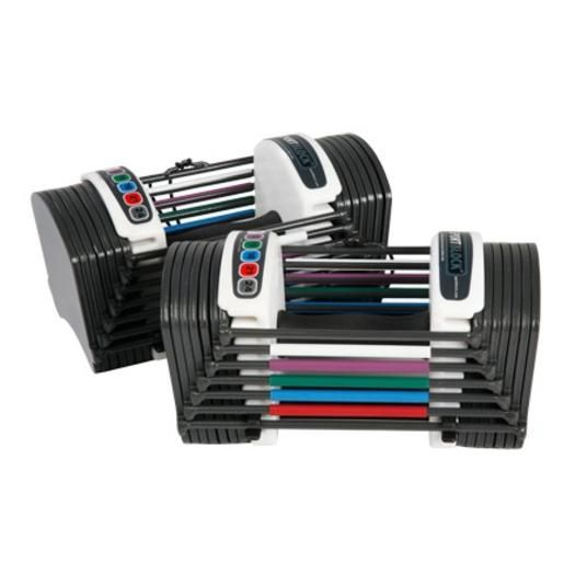 These convenient adjustable dumbbells help you pick the perfect weight for any exercise.