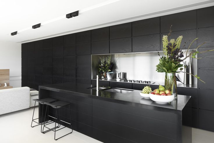 Black and White, stainless splashback