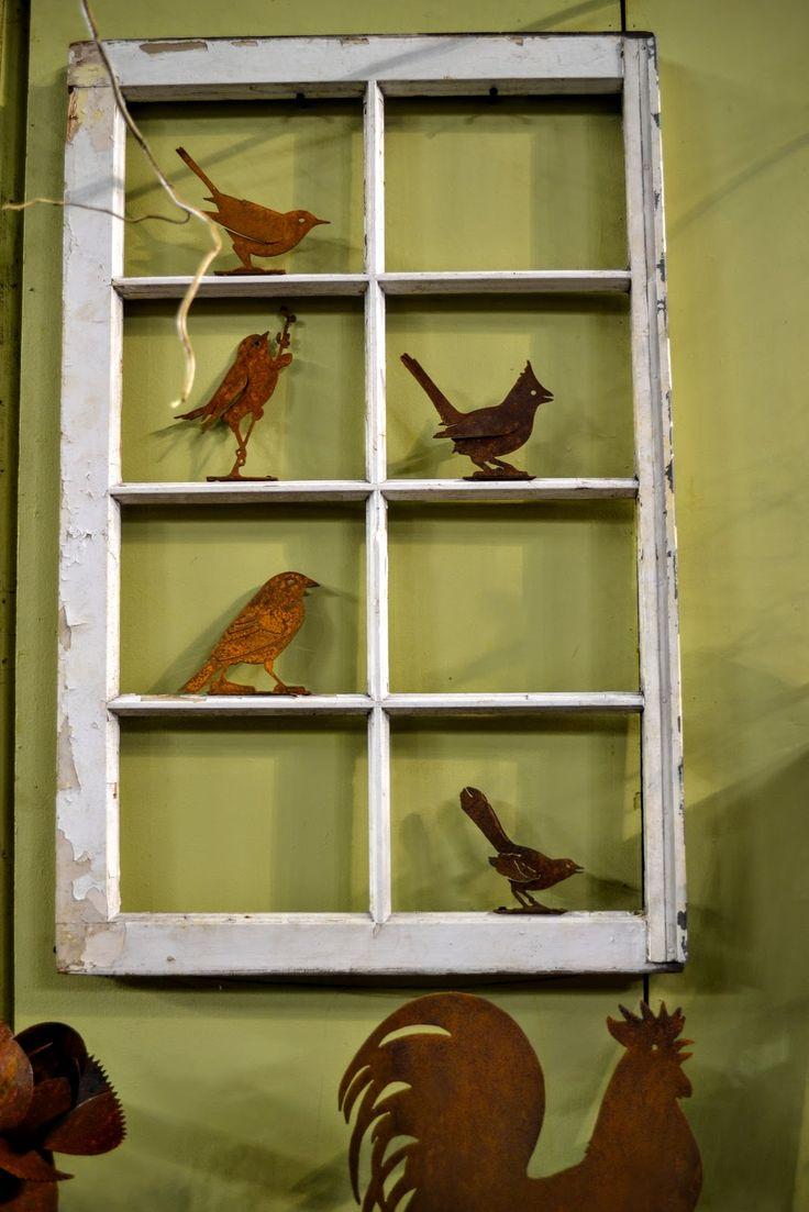 Garden Window with Rusty Birds