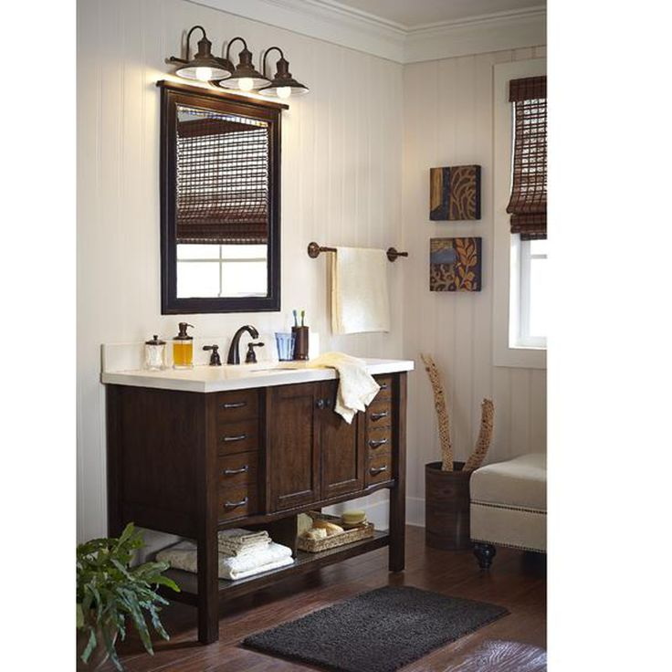 Shop allen + roth Kingscote Espresso Undermount Single Sink Asian Hardwood Bathroom Vanity with Engineered Stone Top (Common: 48-in x 20-in; Actual: 48-in x 20-in) at Lowes.com