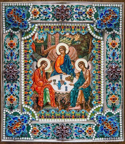 Icon of the Holy Trinity. Painting on Enamel, salary – Silver 960 ° (938 g), hot enamel, stones grenades. Enamel painting by Vyacheslav Abramov
