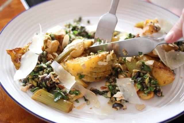 Braised fennel, butter beans, tapenade, parmesan