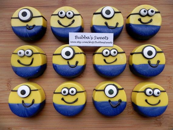 MINION Chocolate Covered Oreos - MINION Birthday or DESPICABLE me Birthday! on Etsy, $16.00