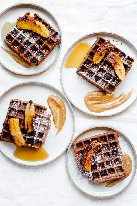 Chocolate Espresso Waffles with Caramelized Bananas   TENDING the TABLE