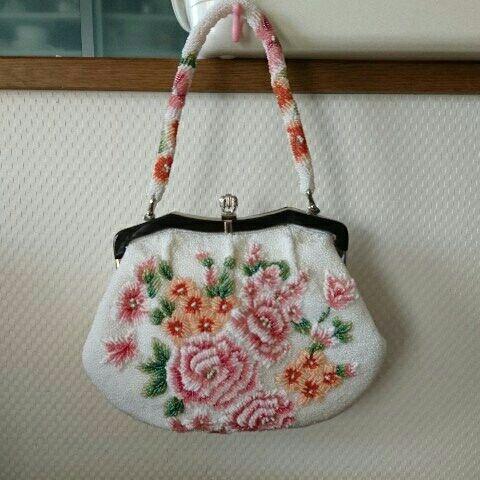 レトロ 大輪のお花ビーズモチーフ 素敵なビーズのバッグ/アンティーク パティーバッグ 着物 美品_画像1