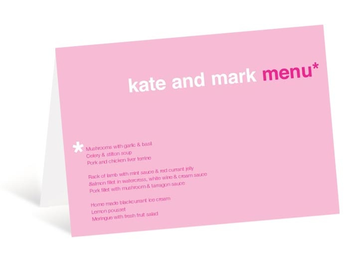 Type, Pink, Lovehearts, Menu, White, Rose, Fuschia, Baby, Pale, Asterisk, Star, Colour, Reception, Food, Guests, Type, Booklet, Invitation, Ribbon, Wedding, Stationery, Invite, Thank You, Card