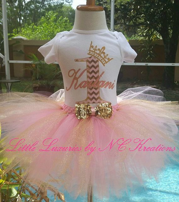 Pink and Gold Crown Princess Birthday Tutu Outfit