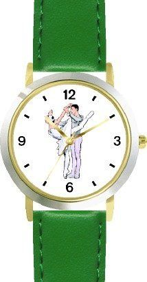 Ballerina and Ballet Dancer Couple No.2 - WATCHBUDDY® DELUXE TWO-TONE THEME WATCH - Arabic Numbers - Green Leather Strap-Children's Size-Small ( Boy's Size & Girl's Size ) WatchBuddy. $49.95. Save 38% Off!