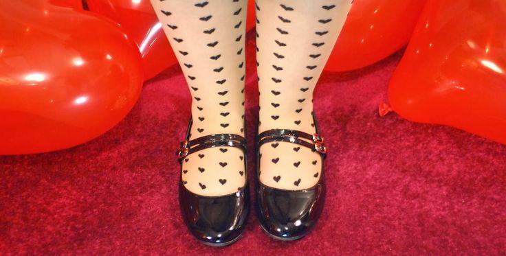 Heart tights, Mary Jane style flats, heart balloons