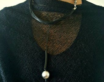 Black leather statement necklace  Popular necklace  Leather