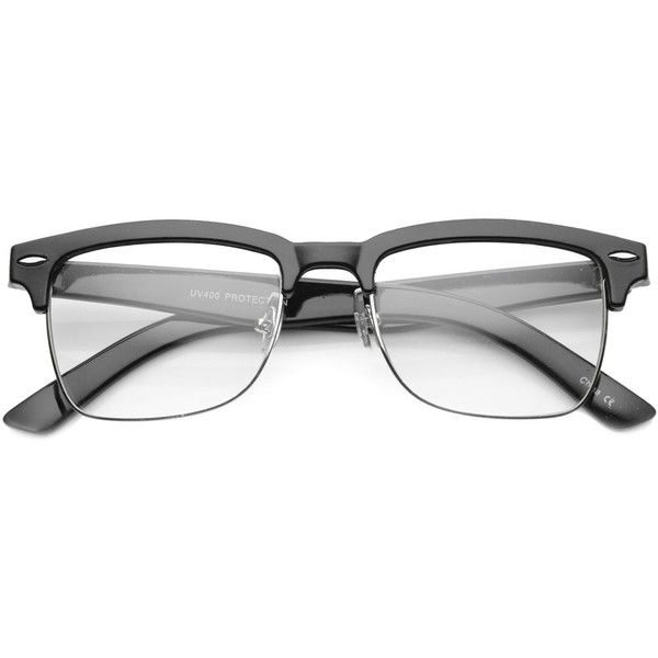 Vintage Hipster Dapper Indie Half Frame Clear Lens Glasses 9810 ($19) ❤ liked on Polyvore featuring men's fashion, men's accessories, men's eyewear, men's eyeglasses and vintage mens eyeglasses