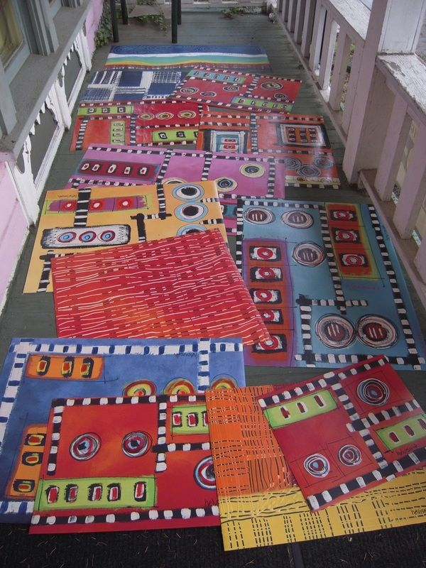 "Here is a little ""walking tour"" of the floor cloths....from http://www.helvismith.com"