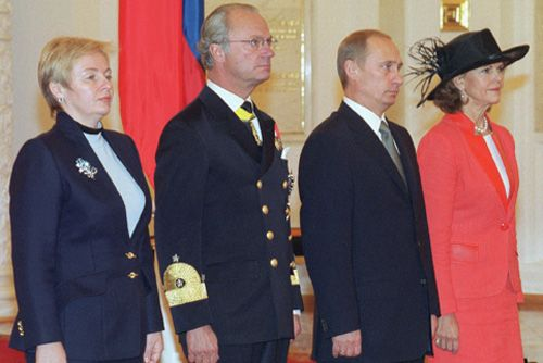 The King and Queen of Sweden welcomed at the Kremlin by President Vladimir Putin of the Russian Federation and Mrs. Putin at the start of the King's State Visit to Russia