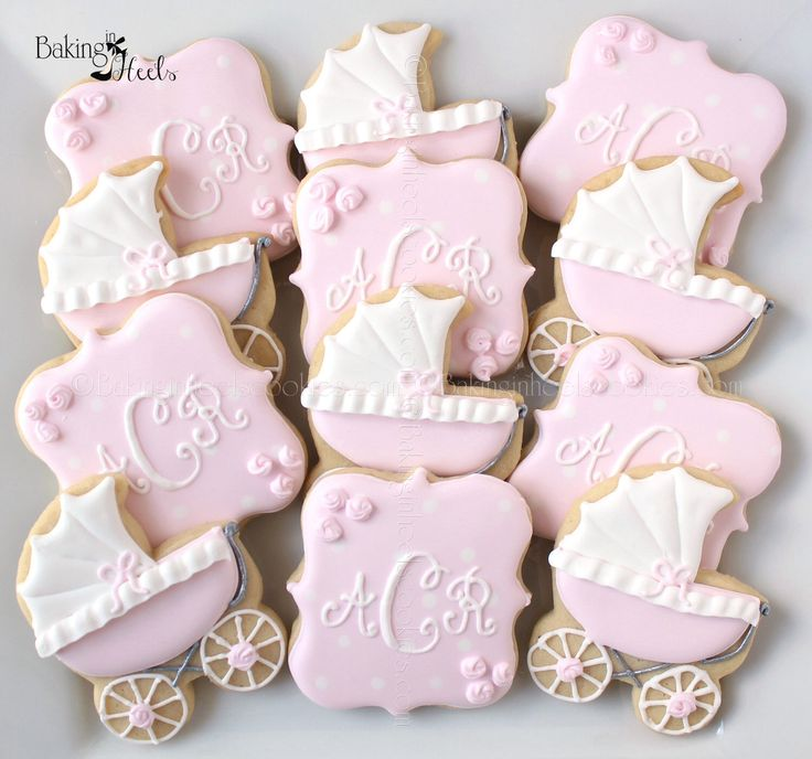Baby Carriage Baby Shower Cookies, Monogram Cookies, It's a girl Cookies, Rose Cookies, New Baby Cookies, Mommy to Be Cookies by Bakinginheels on Etsy https://www.etsy.com/listing/201022133/baby-carriage-baby-shower-cookies