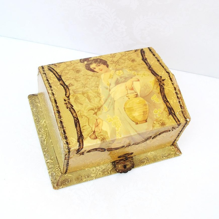 Celluloid Dresser Box, Victorian Storage Boxes, Asian Inspired Decor. $165.00, via Etsy.