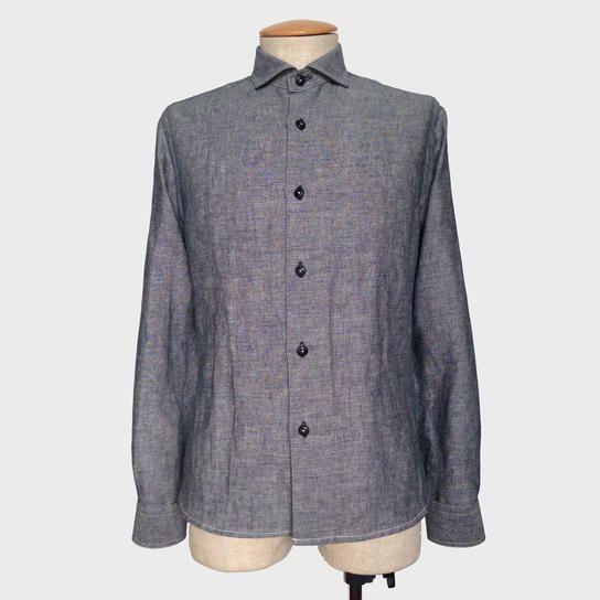 綿/麻ダンガリーワイドスプレッドカラーシャツ