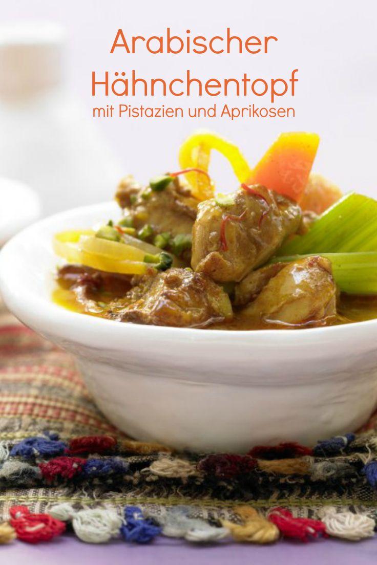 Arabischer Hähnchentopf mit Pistazien und Aprikosen | http://eatsmarter.de/rezepte/arabischer-haehnchentopf