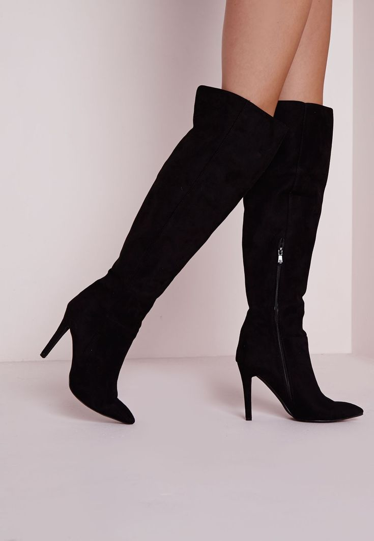 Missguided - Knee High Stiletto Heeled Boots Black