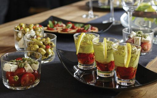 Guacamole Glasses are a tasty choice for a selection of party canapés