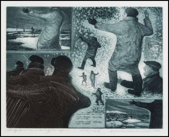 """Study for Man Warning Two Boys II"" (1982) David Blackwood. Etching and aquatint."