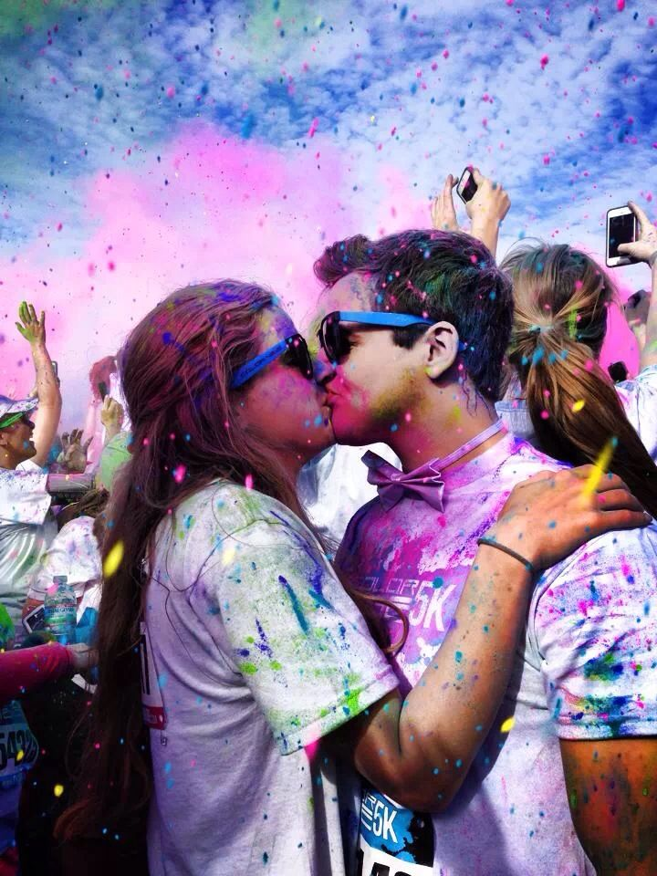 Date idea: Go on a color run with him. The after pictures will be amazing ❤️