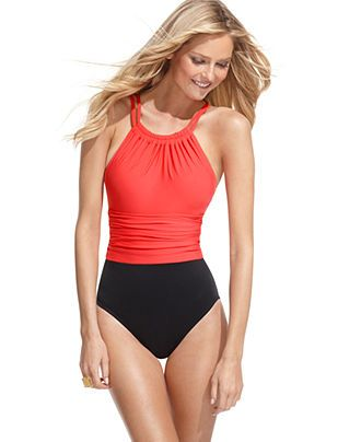 Magicsuit Swimsuit, High Neck Colorblock Ruched One Piece Tummy Control