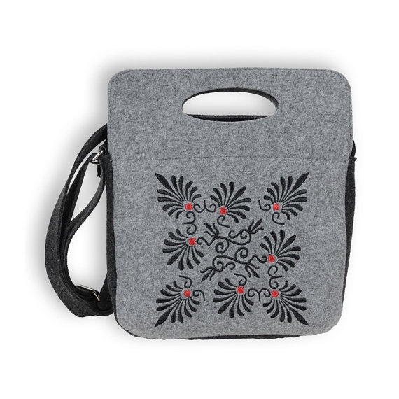 Grey Felted Zipped Bag with Stylish Ornaments by KultomaniA, $55.00