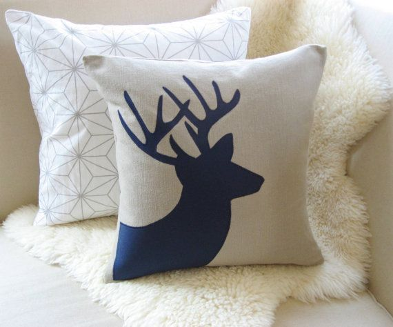 Deer Pillow Cover - Rustic Modern Holiday Stag antlers, Pillow covers and Deer