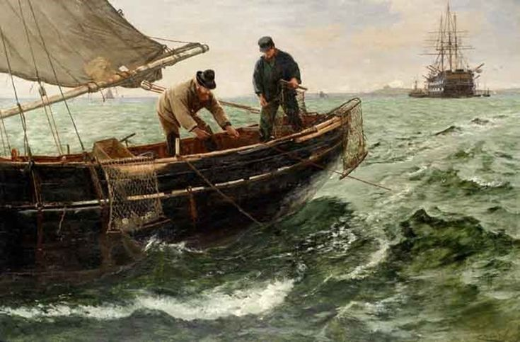 "Charles Napiier Hemy, ""Oyster Dredgers"" -  Hemy's oyster dredgers head home to Falmouth  Appearing at the latest of the twice-yearly marine sales at Bonhams Knightsbridge was a painting by Charles Napier Hemy (1841-1917) which had local connections helping bring demand."